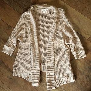 Tan Knit Open Front Cardigan